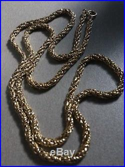 9ct Gold HEAVY 57g Hallmarked Fancy Rope Link Chain Bolt Ring Fastening 31.75
