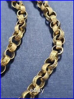 9ct Gold Half Patterned Belcher Chain 56g