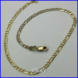 9ct Gold Hallmarked 2 x Colour Figaro 10 Ankle Chain. Goldmine Jewellers