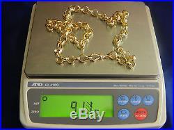 9ct Gold Hallmarked Brand New Heavy 91.1g / 3oz Belcher Chain, Mens, 26 Long