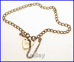 9ct Gold Hallmarked Curb Link Charm Bracelet Padlock & Safety Chain 5.1 grams