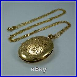 9ct Gold Hand Engraved Oval Locket on 24 Gold Curb Link Chain