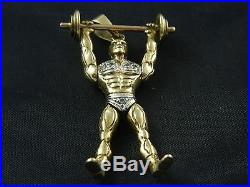 9ct Gold Heavy Articulated Weight Lifter Stone Set Pendant 23.6g, 58mm No Chain