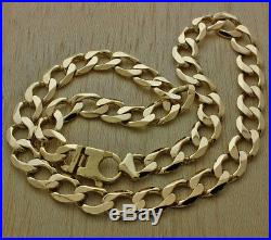 9ct Gold Heavy Bevelled Edge Curb Chain 21.5 83.8g RRP £3195 (JT8)