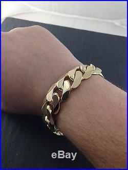9ct Gold Heavy Curb link bracelet 98.6 grams New