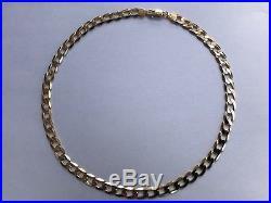 9ct Gold Heavy Flat Diamond-Cut Curb Chain Necklace 26.9g Hallmarked (Unisex)