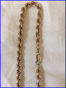 9ct Gold Heavy Rope Twist Chain Necklace Not Scrap