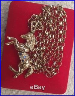 9ct Gold Horse Pendant On A Belcher chain 22