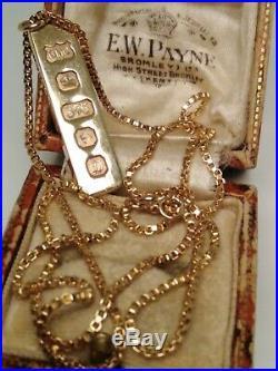 9ct Gold Ingot/bar On Box Link Belcher Chain/necklace