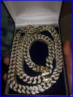 9ct Gold Italian Franco Chain 12mm Wide 36 Long With CZ Crust 282g Very Heavy