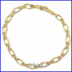 9ct Gold Ladies Bracelet Fancy Link Yellow 5mm Wide Fancy 3.4g 8 Inches