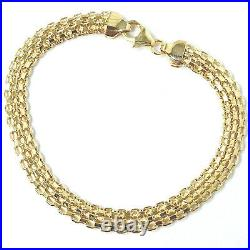 9ct Gold Ladies Bracelet Woven Flat Yellow NEW 6mm Wide 3.7g 7.5 Inches