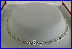 9ct Gold Ladies Solid Diamond Cut Mini Belcher Chain. 24 Inch. 2.6 Grammes