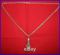 9ct Gold Large Clown Moveable pendant with Gemstone's On 24 Curb Chain