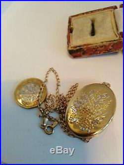 9ct Gold Large Photo Locket And Curb Chain