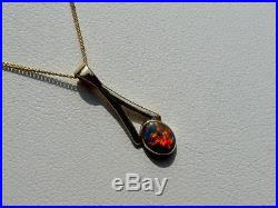 9ct Gold Lightning Ridge Black Opal Pendant And Chain