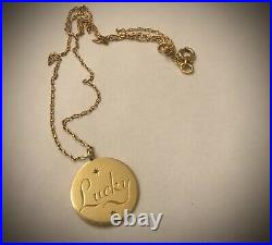 9ct Gold Lucky Engraved Disc Pendant & 9ct Rose Gold 17.5 Inch Chain Necklace