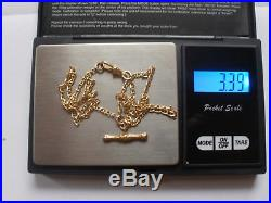 9ct Gold Mariner Link Chain Necklace & T-Bar & Albert Watch Clasp Fob 3.39g 19