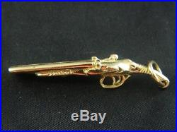 9ct Gold Mens, Shotgun / Gun Pendant 52mm, 7.7g / No Belcher, Curb Chain