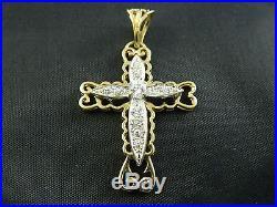 9ct Gold Mens, Womens Stone Set Cross Pendant 48mm, 4.6g / Belcher, Curb Chain