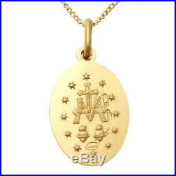 9ct Gold Miraculous Mary Medal Pendant Necklace With 18 Chain Madonna Medal