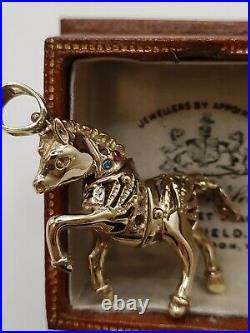 9ct Gold Moving Articulated Galloping Horse Pendant For Chain