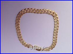 9ct Gold Neck & Matching Bracelet Diamond Cut Curb Chain 27.75 Grams. New