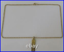 9ct Gold Necklace 9ct Gold Hallmarked Ingot Pendant & 9ct Gold Curb Chain