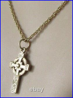 9ct Gold Necklace 9ct Yellow Celtic Cross Pendant & Chain (5.9g)