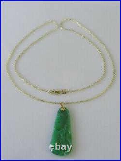 9ct Gold Necklace 9ct Yellow Gold Jade Pendant & Chain