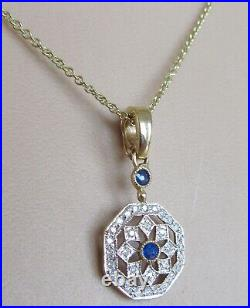 9ct Gold Necklace 9ct Yellow Gold Sapphire Diamond Pendant & 9ct Gold Chain
