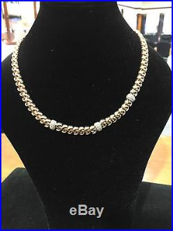 9ct Gold Necklace chain 45.3grams 17.75inch twisted style with stones