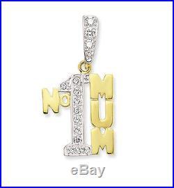 9ct Gold No1 Mum Mummy Mother Cz Cubic Zirconia Pendant Charm Chain Gift Box