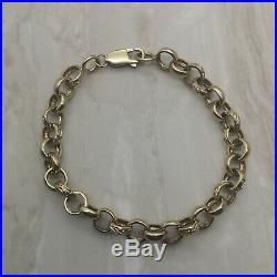 9ct Gold Ornate Belcher/Rolo Chain Bracelet