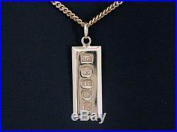 9ct Gold Pendant, Hallmarked Gold Ingot Bar Pendant