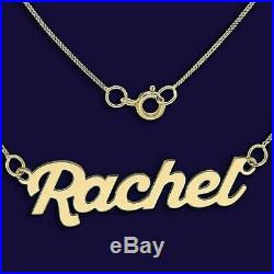 9ct Gold Personalised Name Necklace Script Nameplate Necklet Pendant Hallmarked