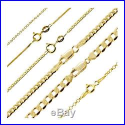 9ct Gold Plated Sterling Silver Curb Belcher Trace Figaro Chain Necklace 16-40