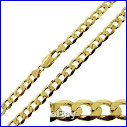 9ct Gold Plated on Sterling Silver 20 22 24 26 28 30 inch 7.2mm Curb Chain