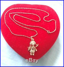 9ct Gold Rag doll pendant on 18 9ct gold chain