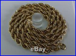 9ct Gold Rope Chain. 20 Inch. 7.1 Grammes. Hallmarked. RRP £285