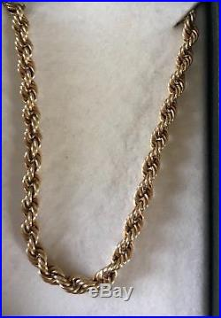 9ct Gold Rope Chain 20+ inch Weight Approximately 6grms Gold and Stamped