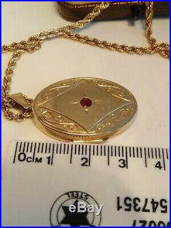 9ct Gold Rope Chain Necklace And Ruby Locket