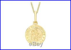 9ct Gold Round St Christopher Protect 12mm Pendant & 18 Chain Necklace Gift Box