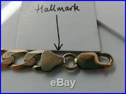 9ct Gold Solid Curb Chain. 1.74 Ounce/49.4 Grammes! 22 inch. Hallmarked