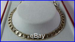 9ct Gold Solid Curb Chain. 20 inch. 14.6g. Hallmarked. Excellent Condition