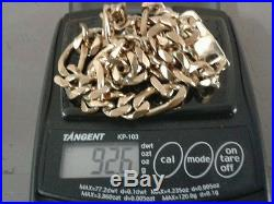 9ct Gold Solid Figaro Chain 22 inch 92.6 Grams/3.26 Ounces. Excellent Condition