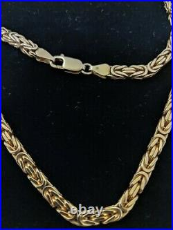 9ct Gold Solid Heavy Yellow Byzantine Chain 70.5 Grams Not Scrap or Curb