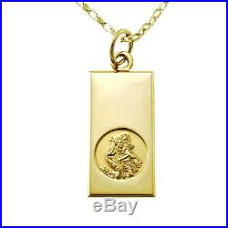 9ct Gold St Saint Christopher Pendant Chain Necklace With 18 Chain