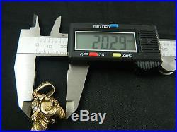 9ct Gold Tested British Bulldog Stoned Set Pendant Heavy 14.1g / No Chain