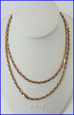 9ct Gold Victorian Double Belcher Link Muff / Guard Chain 30 Necklace. NICE1